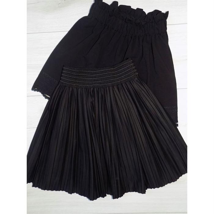 Plisowana czarna spódniczka na gumce