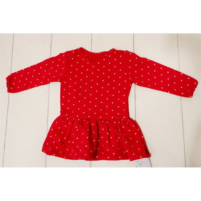 Czerwona sukieneczka ze złotymi grafikami gwiazdeczek