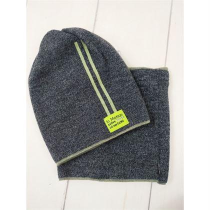 Komplet czapka komin z zielonymi paskami 1