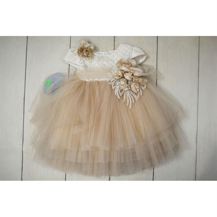 Pastelowa elegancka sukienka z tiulowym dołem i gorsetową ecru górą
