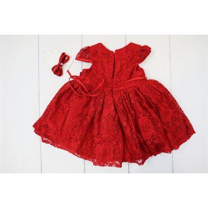 Elegancka czerwona koronkowa sukienka z opaską 1