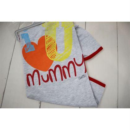 Szary kocyk I love Mummy
