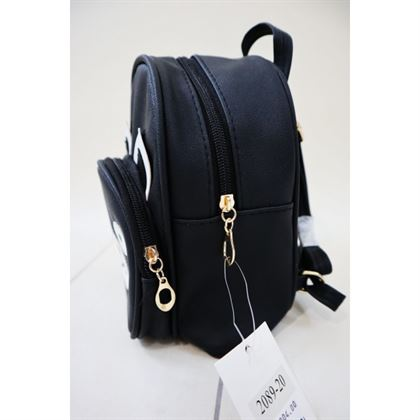 Czarny plecak zasuwany z misiem 3d