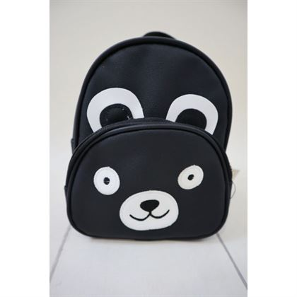 Czarny plecak zasuwany z misiem 3d 1