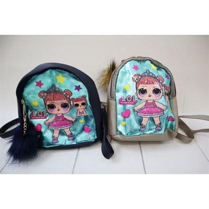 Granatowy plecak z lalką LOL 2