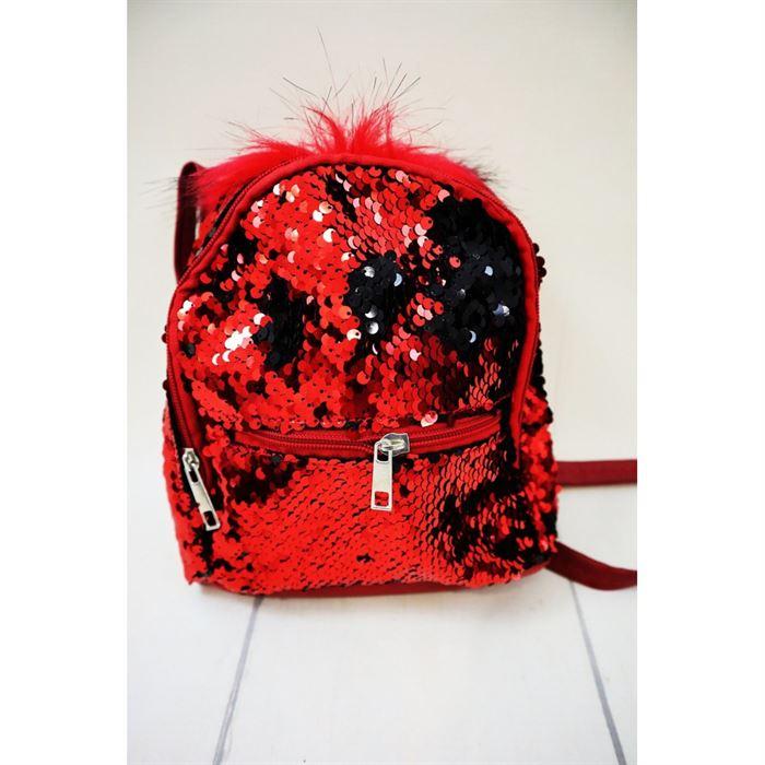 Cekinowy czerwony magiczny plecak