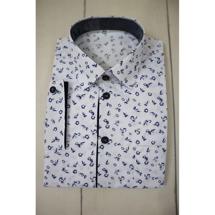 Biała koszula w granatowe liście