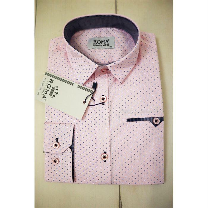 Pudrowa koszula w delikatny wzorek