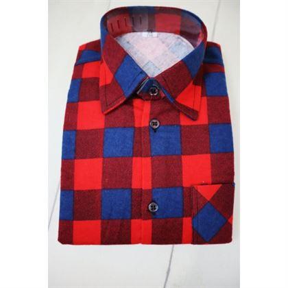 Koszula w kratę czerwono-granatowa 1