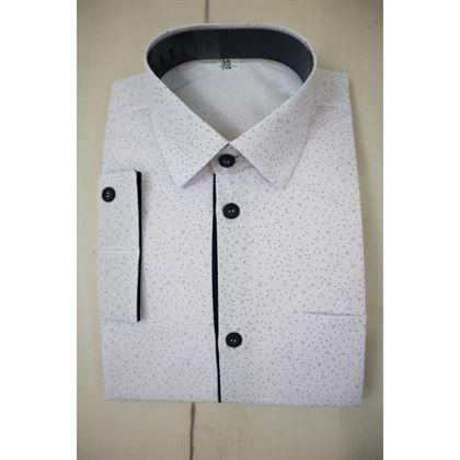 Biała koszula w granatowe kropeczki