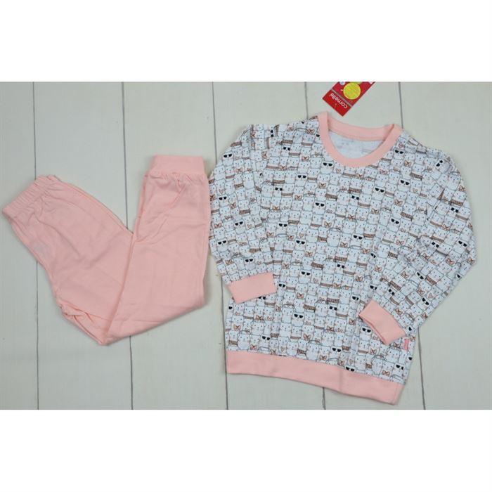 Piżamka z grafiką kotów i łososiowymi dodatkami