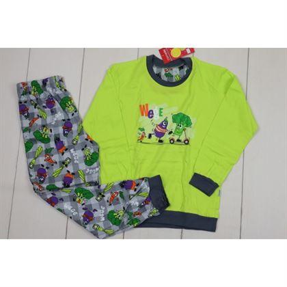 Piżamka limonkowo-szara z warzywami