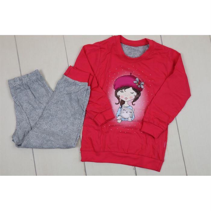 Piżamka czerwono- szara z księżniczką