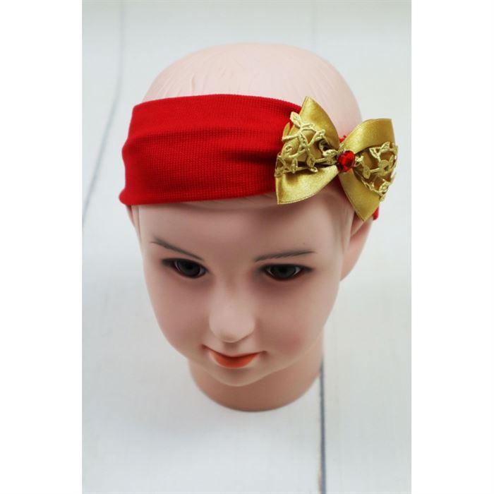 Czerwona opaska dziewczęca ze złotą kokardką