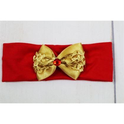 Czerwona opaska dziewczęca ze złotą kokardką 1