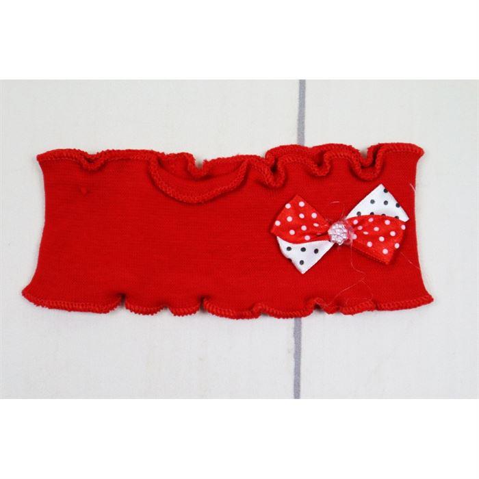 Czerwona opaska dziewczęca z biało-czerwoną kokardką w grochy