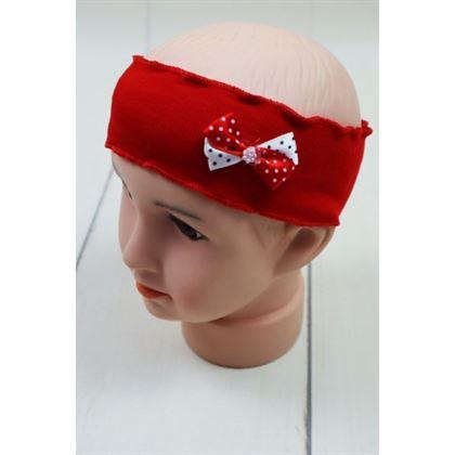 Czerwona opaska dziewczęca z biało-czerwoną kokardką w grochy 1