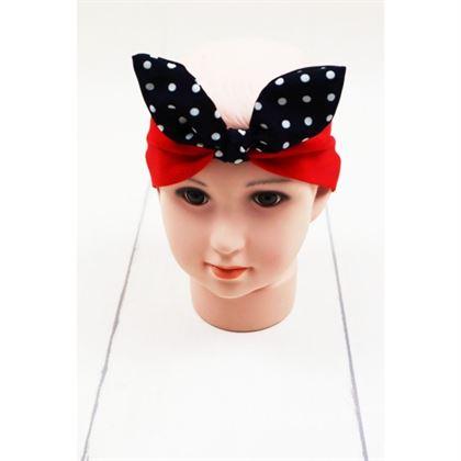 Czerwona opaska dziewczęca z czarną kokardą w grochy 1
