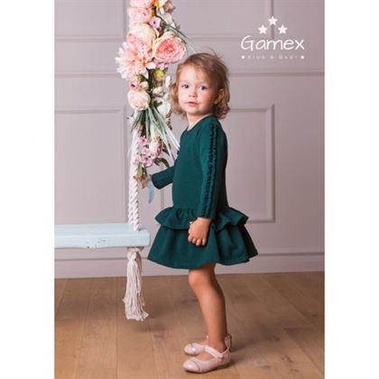Zielona sukienka z falbankami i marszczeniem na rękawach 1