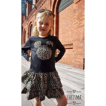 Czarna sukienka z motywem panterkowym i misiem