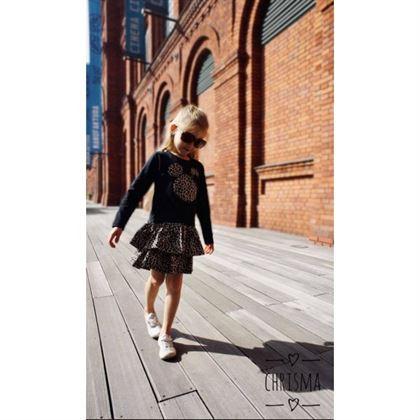 Czarna sukienka z motywem panterkowym i misiem 1
