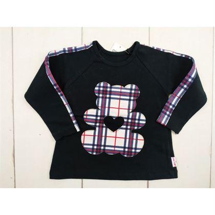 Czarna bluzka z kraciastymi obszyciami i misiem