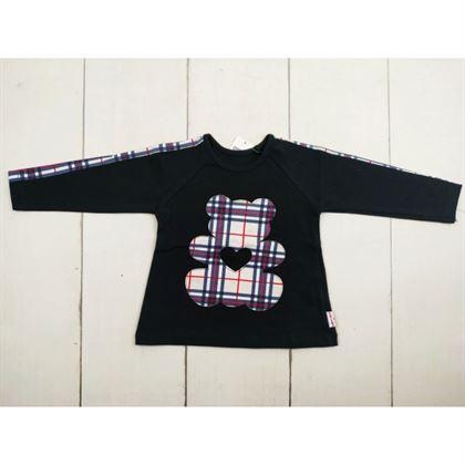 Czarna bluzka z kraciastymi obszyciami i misiem 1