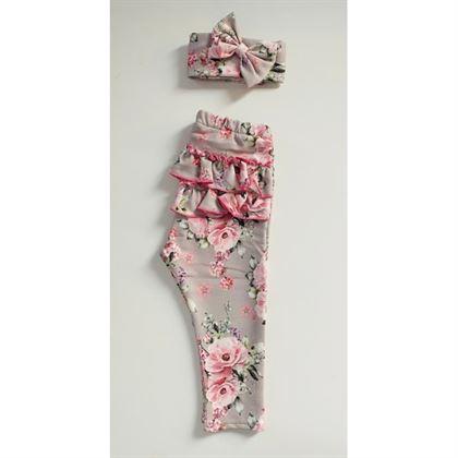 Zestaw legginsy z falbankami +opaska