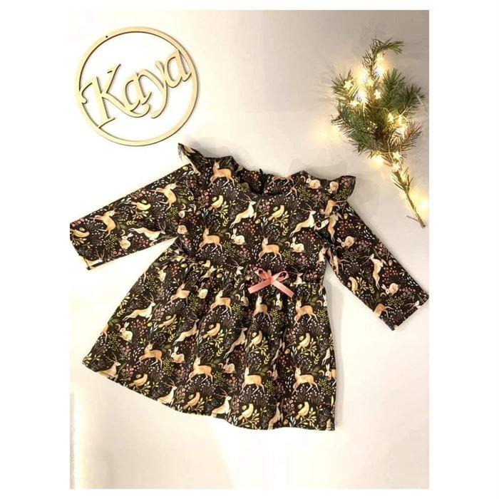 Rozkloszowana sukienka w sarenki z falbanką