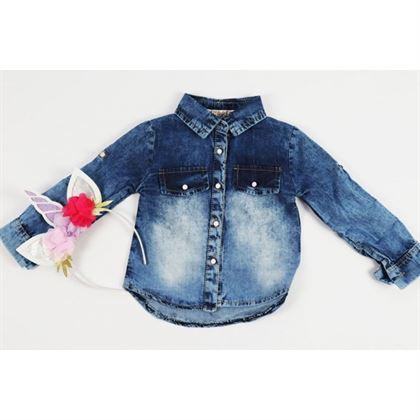 Koszula jeansowa z naszywką jednorożca z opaską 2