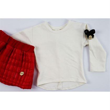 Komplet pikowana czerwona spódniczka i longsleeve