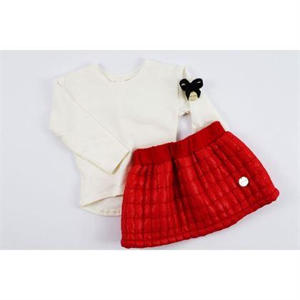 Komplet pikowana czerwona spódniczka i longsleeve 1
