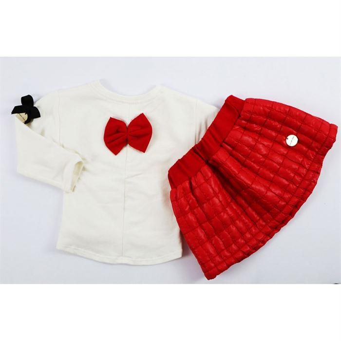 Komplet pikowana czerwona spódniczka i longsleeve 2