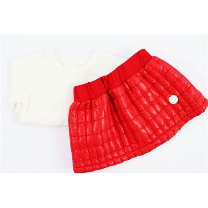 Komplet pikowana czerwona spódniczka i longsleeve 3