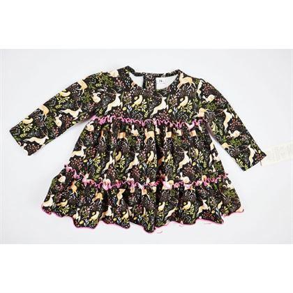 Granatowa sukienka w sarenki