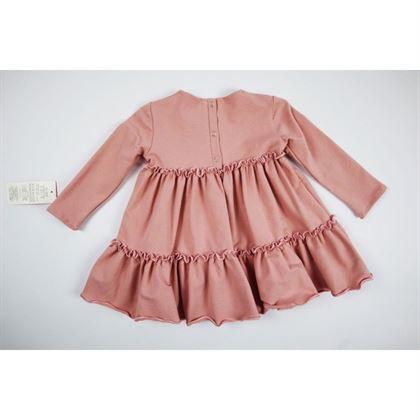 Basicowa pudrowa sukienka z falbankami