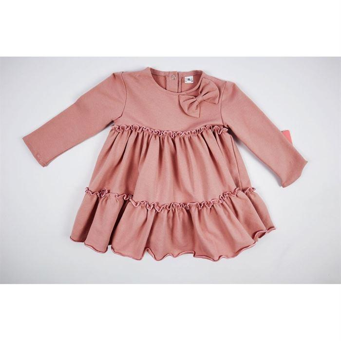 Basicowa pudrowa sukienka z falbankami 1
