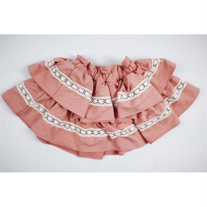 Rozkloszowana pudrowa spódniczka