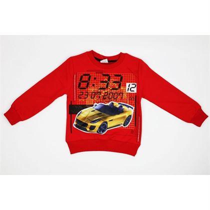 Czerwona bluza z samochodem