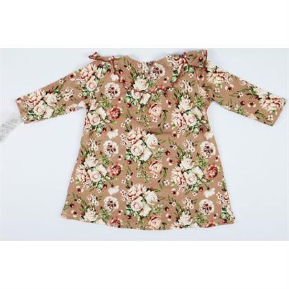 Sukienka w kwiatki z falbanką w camelowym kolorze 1