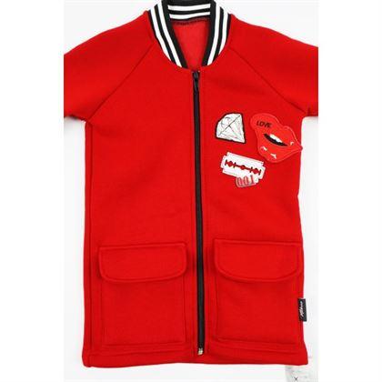 Rozpinana czerwona bluza dla dziewczynki 1