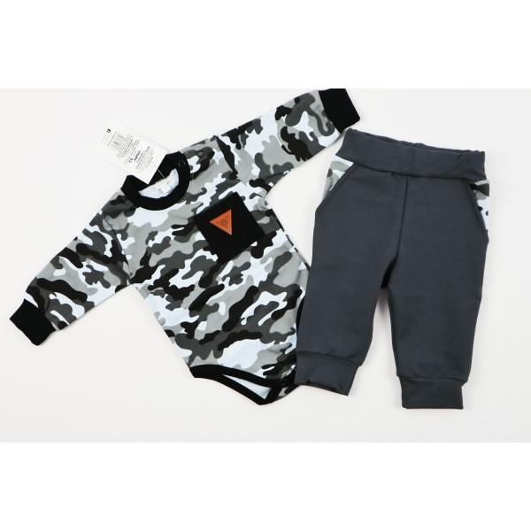 Komplet Gamex body i spodnie szare moro