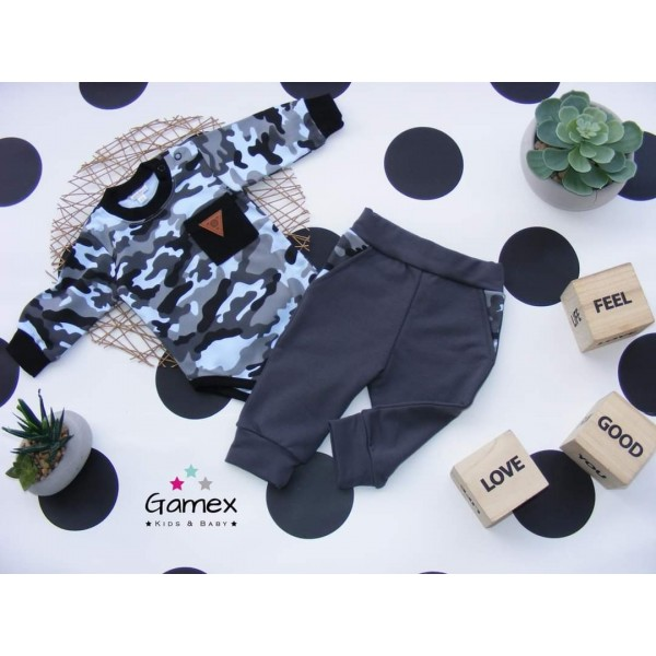 Komplet Gamex body i spodnie szare moro 5