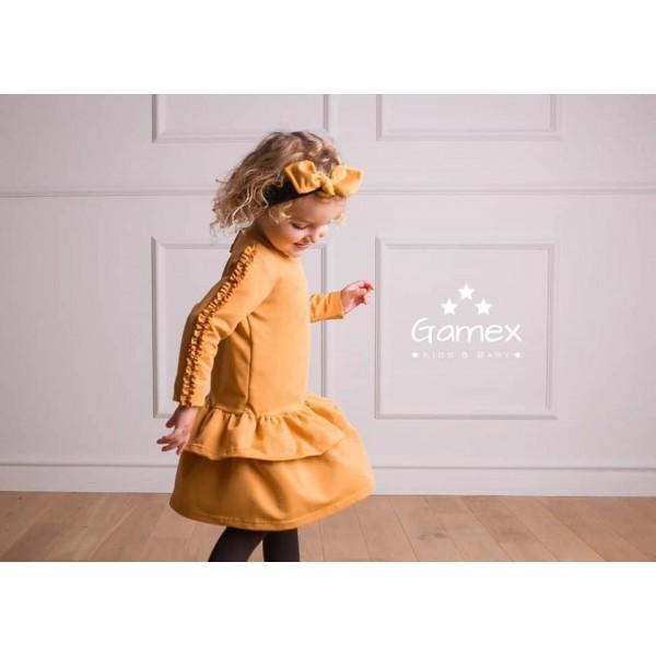 Camelowa sukieneczka Gamex z falbankami 5