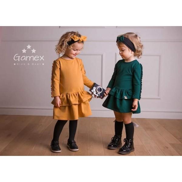 Camelowa sukieneczka Gamex z falbankami 6