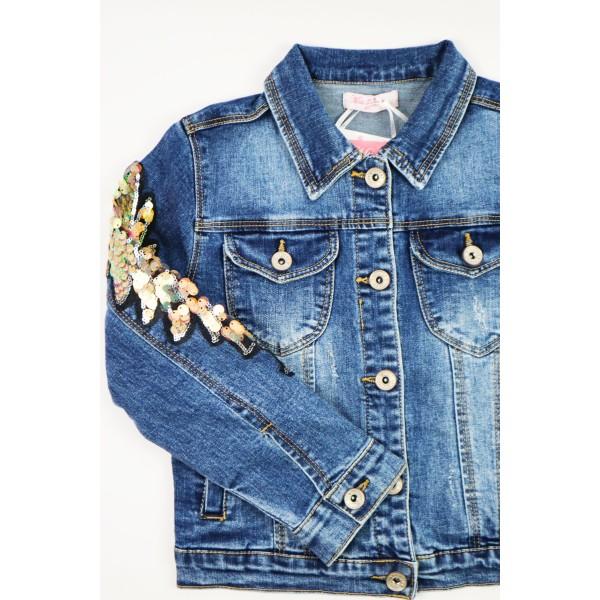 Kurtka jeansowa ciemnoniebieska z ozdobami 1