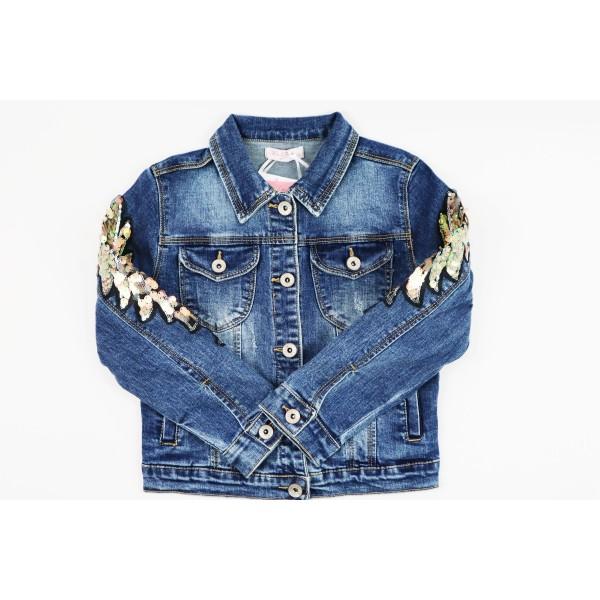 Kurtka jeansowa ciemnoniebieska z ozdobami 2