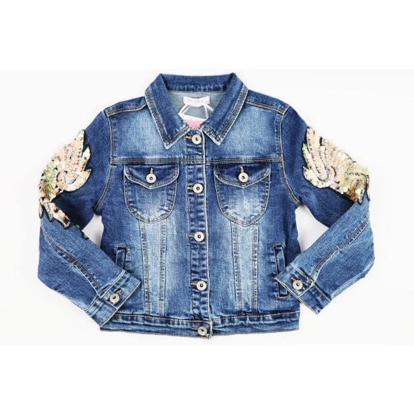 Kurtka jeansowa ciemnoniebieska z ozdobami 3