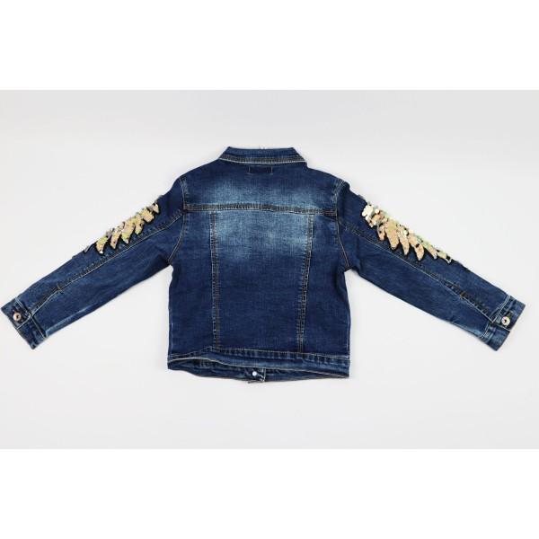 Kurtka jeansowa ciemnoniebieska z ozdobami 5