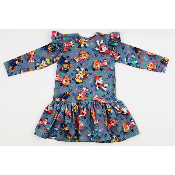 Szara sukieneczka rozkloszowana ze skrzydełkami z grafikami Psi Patrol 3